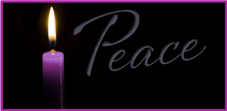 "Advent candle of peace with the text ""peace""."