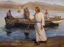 Picture of Jesus walking on the shore calling to Simon and Andrew to become the first disciples from Mark 1: 14-17.
