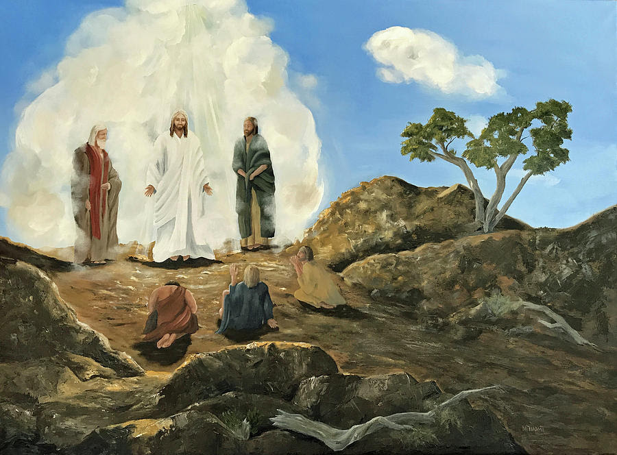 Image of Jesus on the mountain with Moses and Elijah from Mark 9:2-9. Two of the disciples are in the foreground, one is fearful the other in prayerful praise.