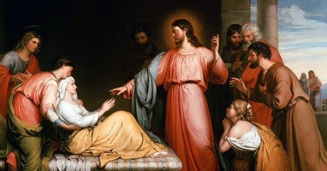 Picture of Jesus healing Simon's Mother-in-law from Mark 1:29-39. Many disciples and onlookers are present in the scene.