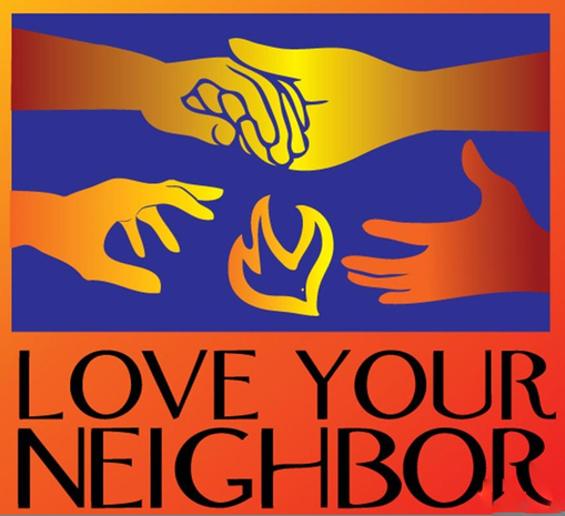 """The image is of two red and yellow hands holding each other above two red and yellow hands reaching for each other. Between the bottom two hands is a outline of a yellow dove/ All of this is on a blue background above the text, """"LOVE YOUR NEIGHBOR"""" on a orange background."""