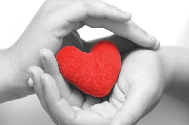 Two hands in black and white photo cradling a bright red heart.