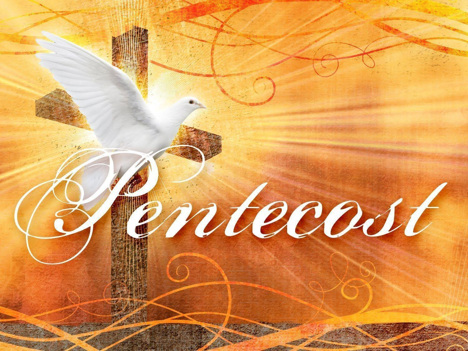 """An image of a wooden Cross with swirls of red and orange coming from the image. A picture of a dove flying is in front of the Cross with the text """"Paentecost"""" in the foreground."""