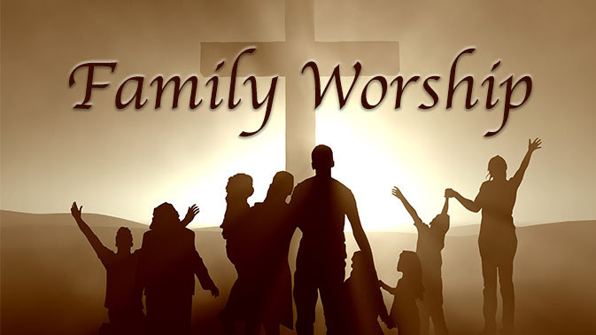 """The image is of many different types of families standing before the Cross at sunrise. The text """" Family Worship is prominently in the foreground."""