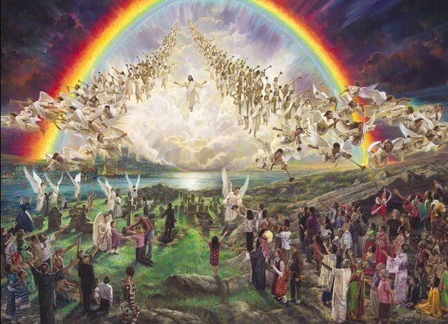 """An image by Nathan Greene called """"The Blessed Hope."""" The picture depicts the second coming of Jesus and the angels descending to Earth amongst the human beings in the foreground."""