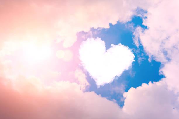 An image of a heart shaped cloud against a blue sky.